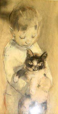 Jongen met poes - Boy with cat | pencil drawing, 1916 by Han van Meegeren (Dutch 1889 – 1947)