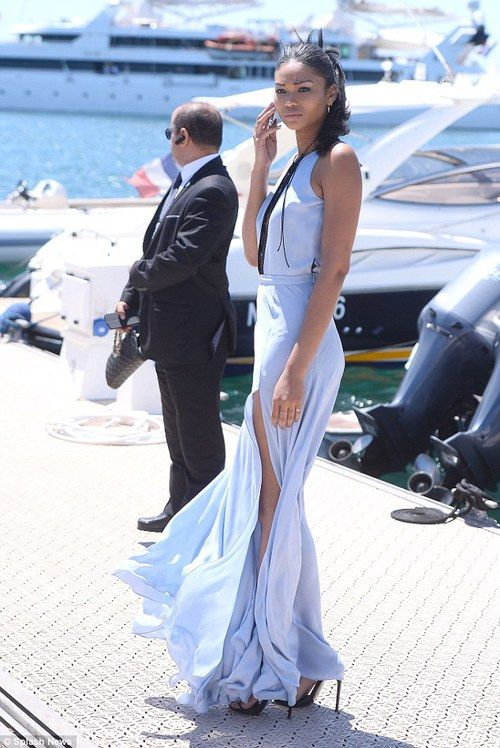 Chanel Iman wears plunging gown with high thigh-split in Cannes | Daily Mail Online
