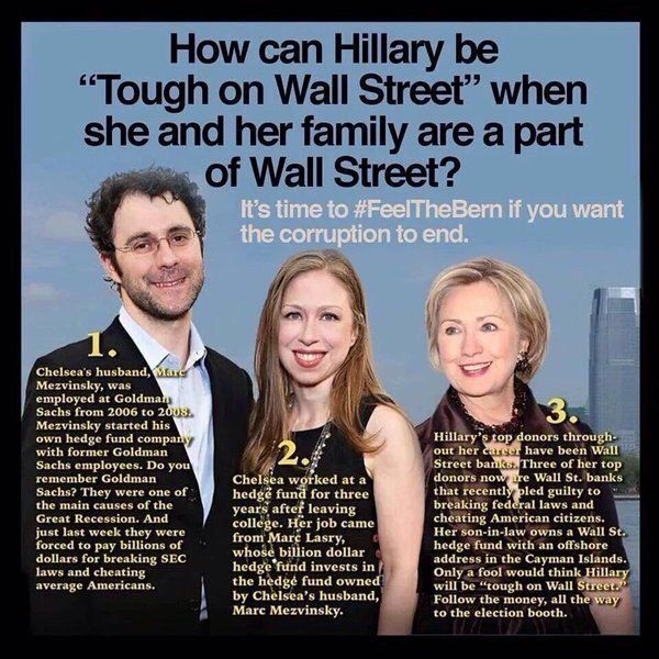 HOW CAN HILLARY BE TOUGH ON WALL ST WHEN SHE & HER FAMILY ARE A PART OF WALL STREET?