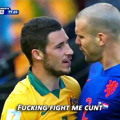 Socceroo Matthew Leckie Gives Dutch Player The Most Australian Taunt Ever - Fuckin fight me cunt (he may of not said it but the GIF rules)