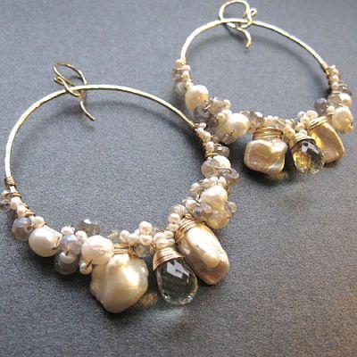 SALE Hammered hoops labradorite keshi pearls by CalicoJunoJewelry