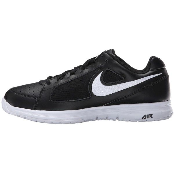 Nike Air Vapor Ace (Black/White/White) Men's Tennis Shoes ($65) ❤ liked on Polyvore featuring men's fashion, men's shoes, mens lightweight running shoes, mens white and black dress shoes, mens lace up shoes, mens white shoes and mens perforated shoes