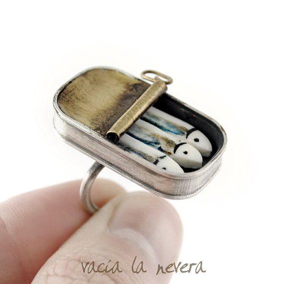 Auffällige Silberring zeitgenössische Ring Porzellan
