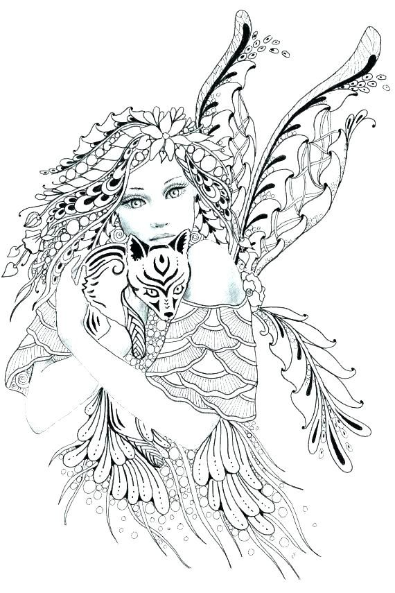 Detailed Fairy Coloring Pages For Adults Collection Fairies - Fairy-coloring