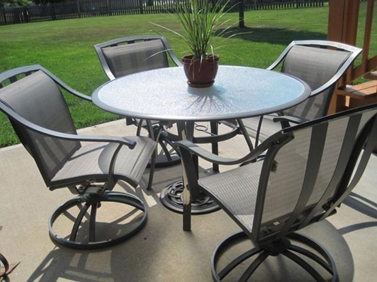 Patio Furniture With Swivel Chairs Furniture: Black Wrought Iron Patio  Furniture With 4 Swivel Patio