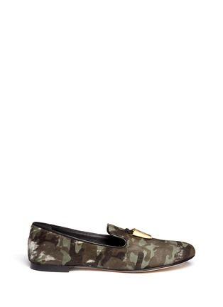 GIUSEPPE ZANOTTI DESIGN - Shark tooth tassel camouflage smoking shoes | Blue and Green Slip-on Flats | Womenswear | Lane Crawford - Shop Designer Brands Online