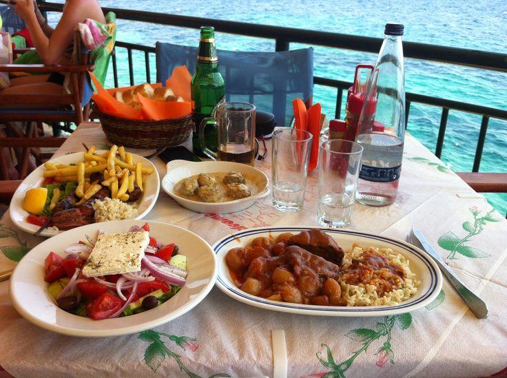 We sampled traditional dishes at the Taverna on the Rocks on Kaminaki beach, Corfu.