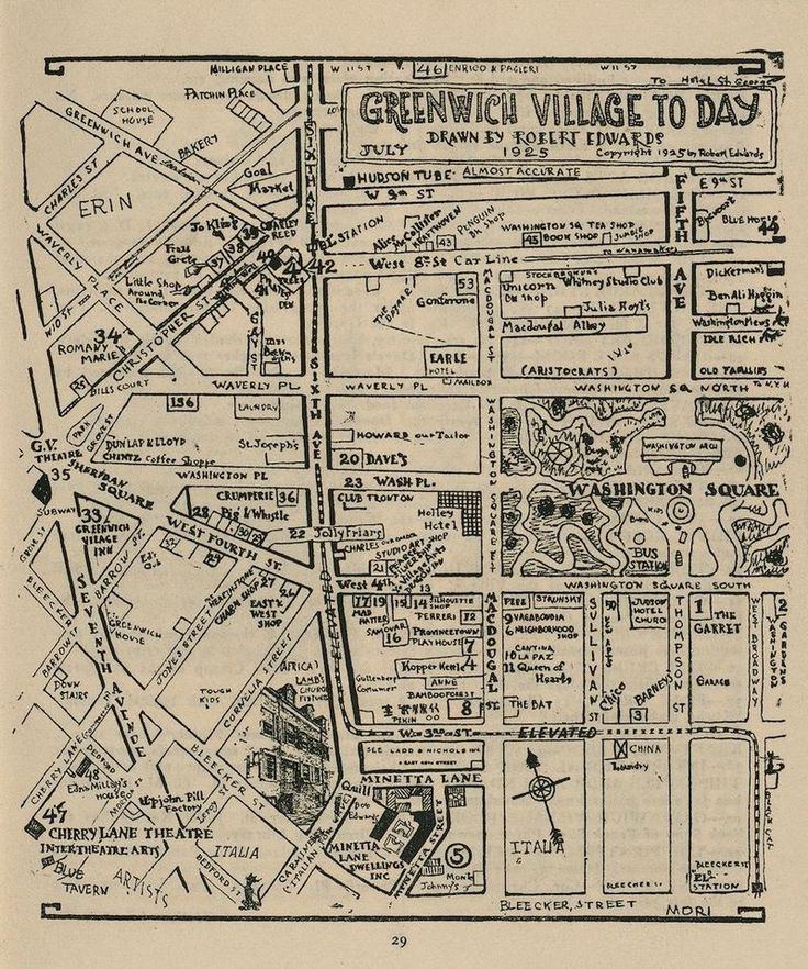 Hand Drawn Map of Greenwich Village NYC from 1925