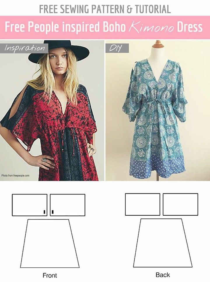 Beginner sewing patterns - A Cute and Easy short kimono dress free sewing pattern !