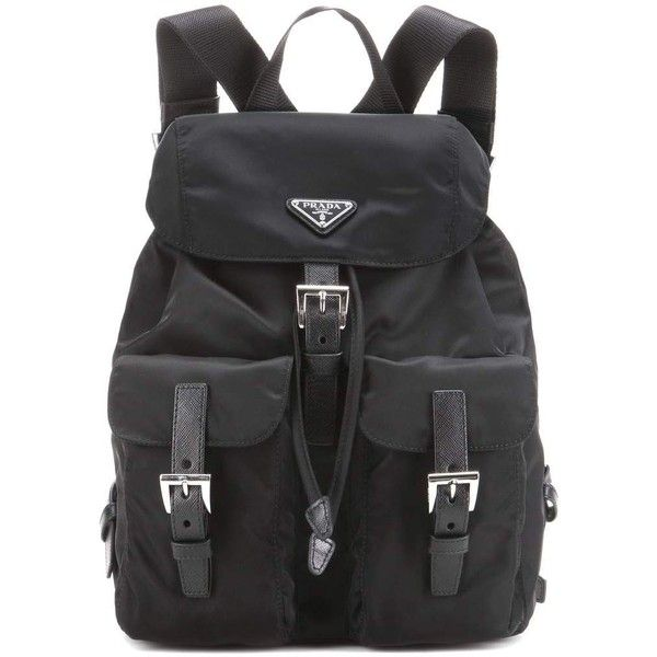 Prada Vela Backpack ($1,085) ❤ liked on Polyvore featuring bags, backpacks, backpack, black, prada backpack, prada, prada bags, rucksack bag and day pack backpack