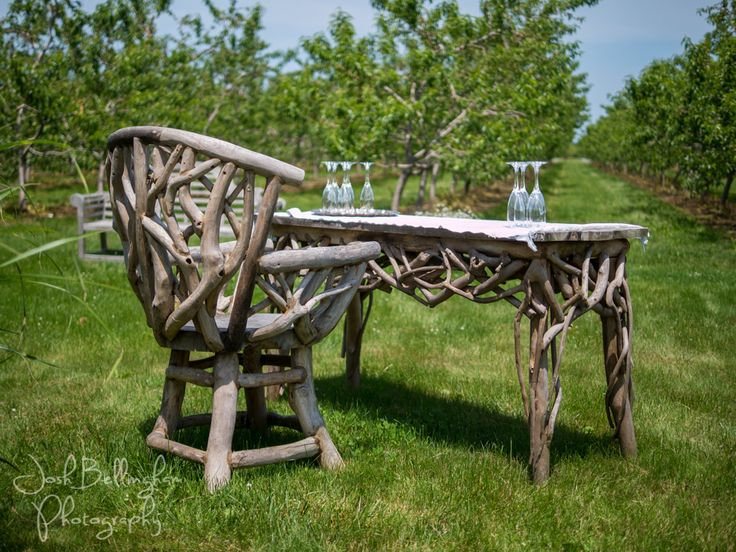 Very unique and rustic wooden table and chairs at Orchard Croft in Niagara.  #JoshBellinghamPhotography