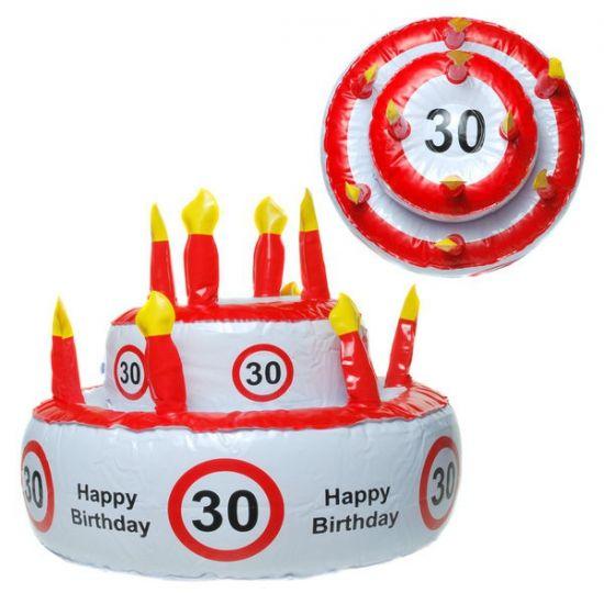 Opblaasbare verjaardagstaart 30 jaar. Deze opblaasbare taart is versiert met verkeersborden 30 jaar. De taart kan ook gebruikt worden als feesthoed. De taart is gemaakt van plastic. Het formaat van de opblaasbare verjaardagstaart is circa 30 cm.