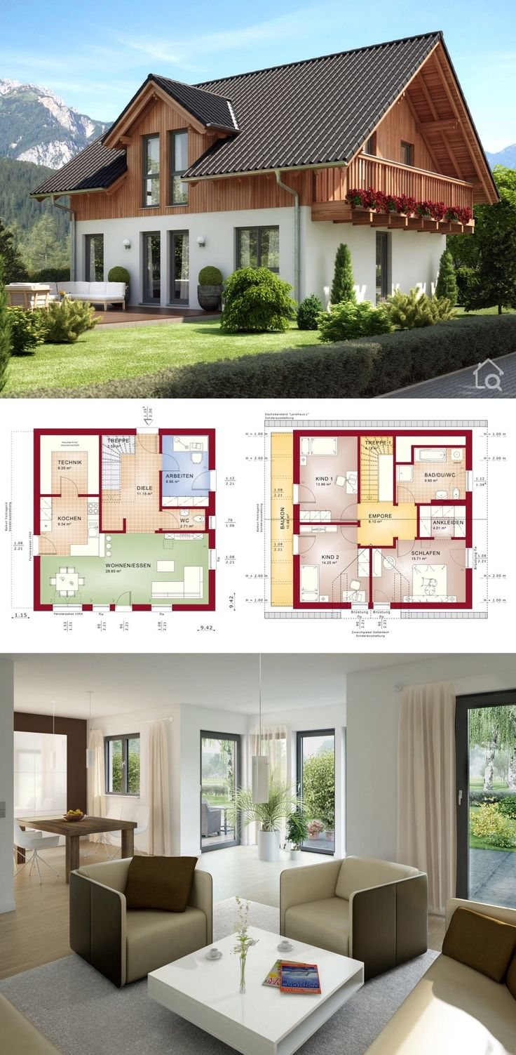 "House Plans Architecture Design Contemporary European Alpine Country Style ""EVOLUTION 143 V2"" – Dream Home Ideas with Open Floor Layout by Bien Zenker – Interior with Kitchen Living Room Bathrooms Bedrooms Nursery Kids Entrance Hall Garage and Garden Exterior – Arquitectura moderna casas planos – HausbauDirekt.de"