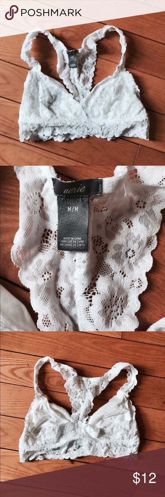Aerie white lace bralette size Medium Aerie by American Eagle white lace racerback bralette size Medium, new without tags, never worn aerie Intimates & Sleepwear Bras