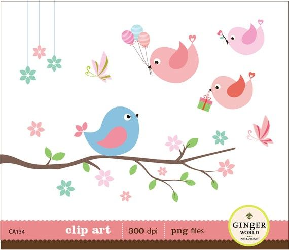 Cute Birds with birthday gift ballon clip art digital illustration for scrapbooking Birthday Invitation (CA134). $5.50, via Etsy.