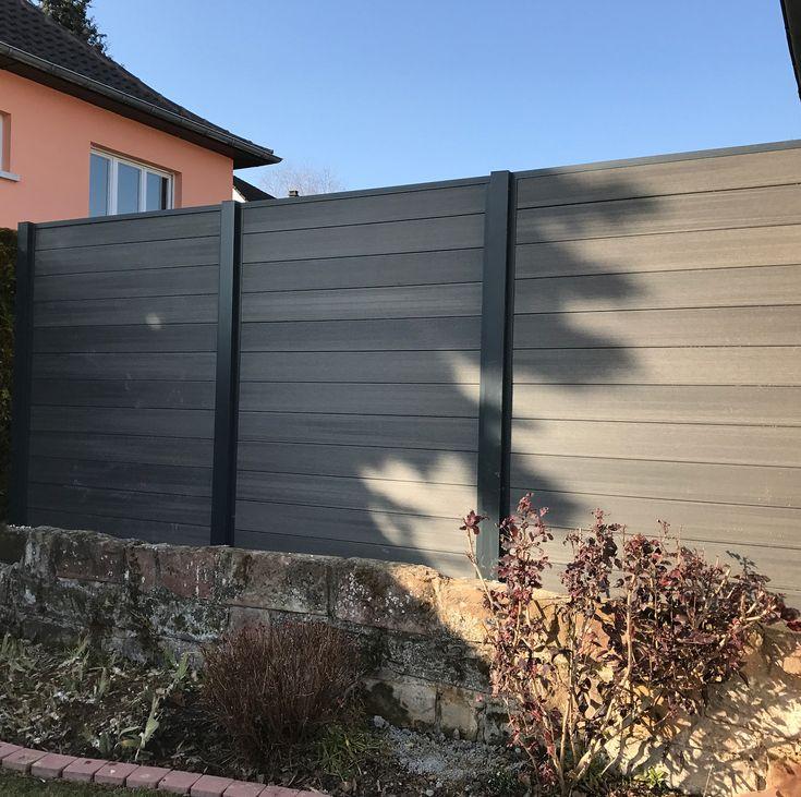 Remplacement d'une clôture rigide par un brise vue en composite et aluminium #rypaysage #landscaper #paysagiste #alsace