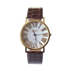 Zegarek vintage klasyczny rzymskie cyfry z brązowym paskiem