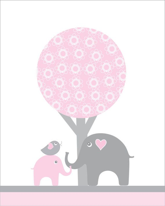 8X10 Pink and gray nursery wall art for girls door walstonprints