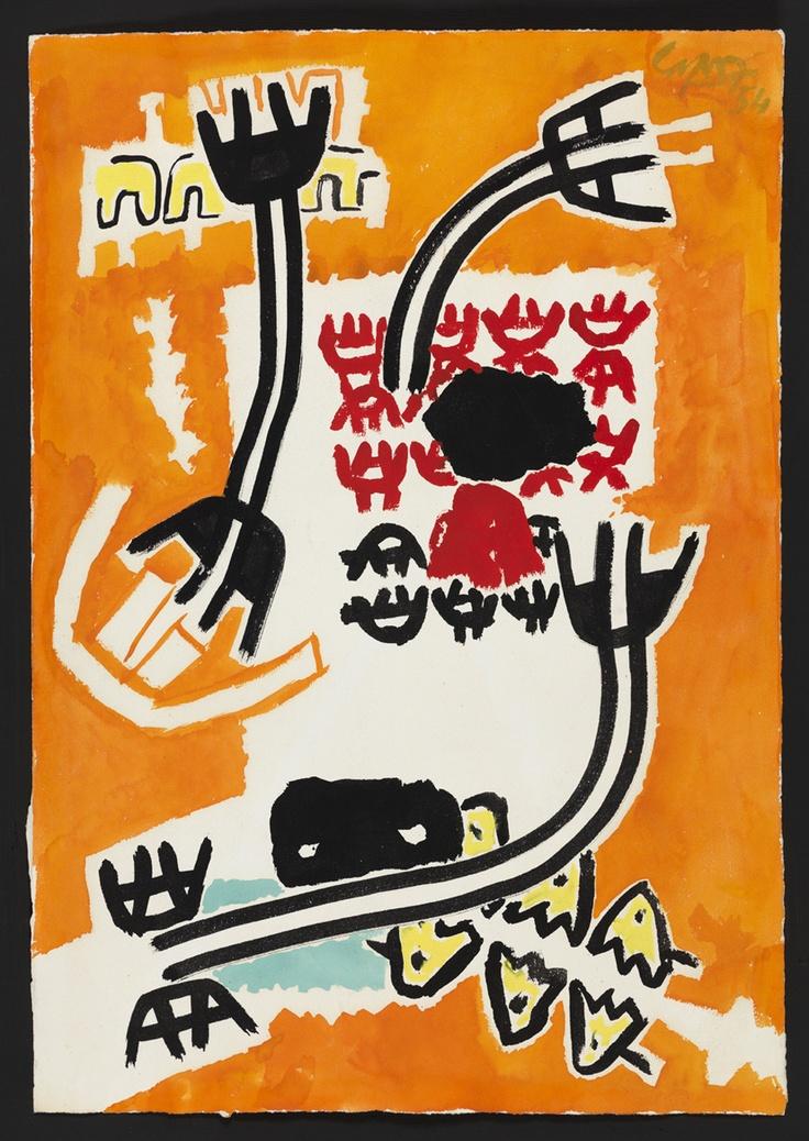 Giuseppe Capogrossi, Superficie, 1964, tempera su carta, cm.