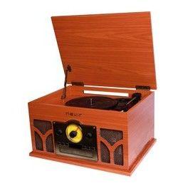 TOCADISCOS CON RADIO CD BLUETOOTH NEVIR NVR-807VRBUC MADERA - Inside-Pc
