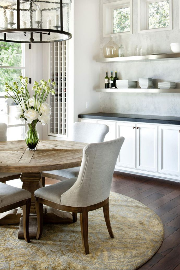 Dining Room, : Classic Modern Kitchen Dining Table Design With Round Wooden  Dining Table Plus White Chairs And Combine With White Kitchen Cabinet And  Wall ... Nice Ideas