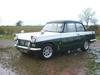 My first car - a 1964 Triumph Herald 12/50. It had no seat belts, no brakes, no power and no heating, but it had a better turning circle than a London taxi. As I was living in Chester at the time, this wasn't that useful