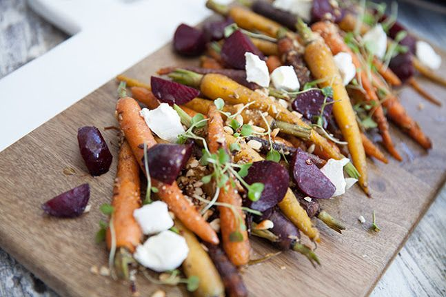 Carrot and beetroot salad with hazelnut dressing