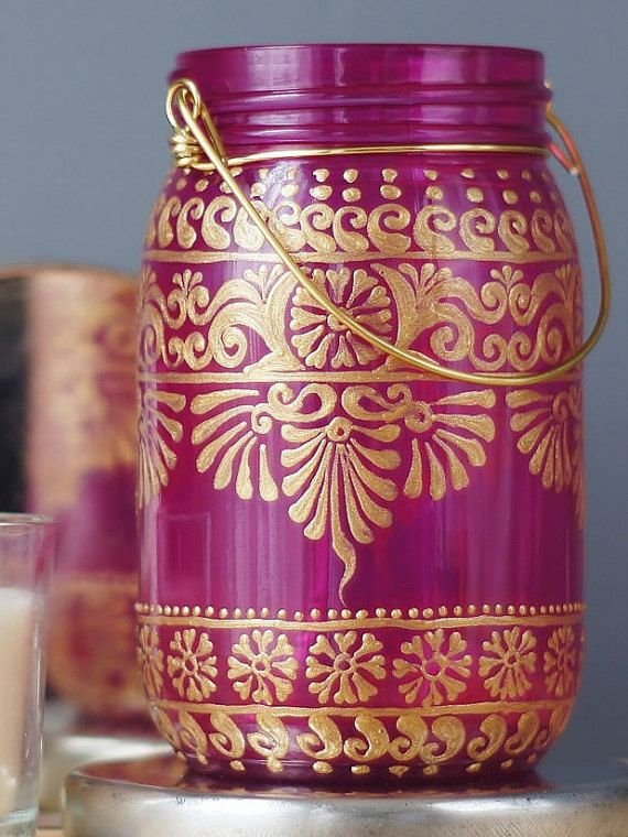 Hand Painted Mason Jar, Bright Pink Glass with Gold Detailing