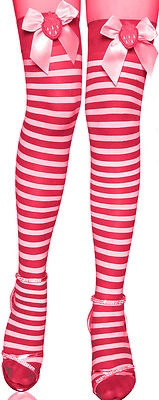 Strawberry SHORTCAKE costume stockings RED and White Strips