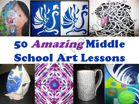 50 Amazing Middle School Art Lessons from The Art Teacher on TeachersNotebook.com (51 pages)  - As an art teacher for many years, I've found that you can never have too many art ideas...especially at the middle school level. This PowerPoint presentation contains well nearly 200 pictures and shows 50 new, tried and true art lessons that I'v