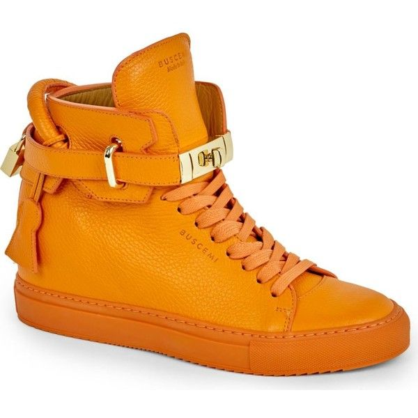 BUSCEMI Crocodile-grained leather high-top trainers ($870) ❤ liked on Polyvore featuring shoes, sneakers, orange, lace up shoes, orange sneakers, buscemi sneakers, high top trainers y strap sneakers