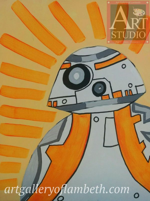 BB-8 Droid - one of many paintings London, Ontario Kids can learn to paint at the #AGLArtStudio #ldnont #Kids #Art #Painting #Birthday #Parties Register at http://artgalleryoflambeth.com/new-calendar-events-page/