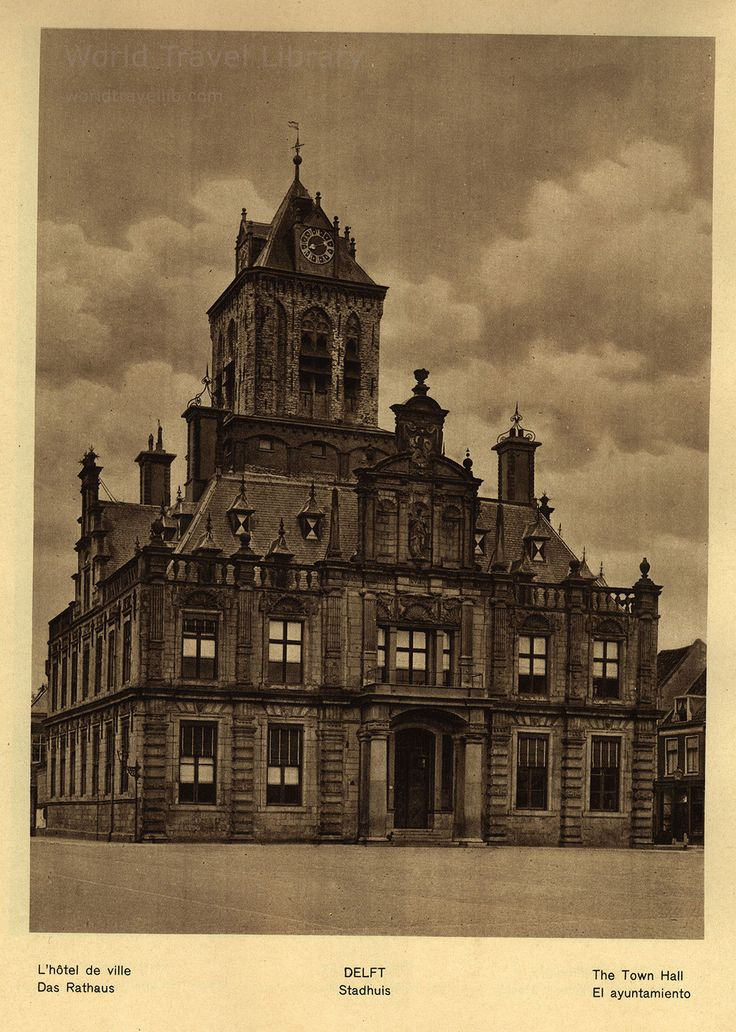 https://flic.kr/p/X26hfK | Holland; 1933_15, Delft town hall, South Holland prov., The Netherlands | Delft  Stadhuis / L'hotel de ville / Das Rathaus / the Town Hall /  El ayuntamiento