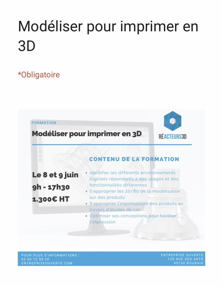 """Inscrivez-vous dès maintenant à notre FORMATION : """"Modéliser pour imprimer en 3D""""."""