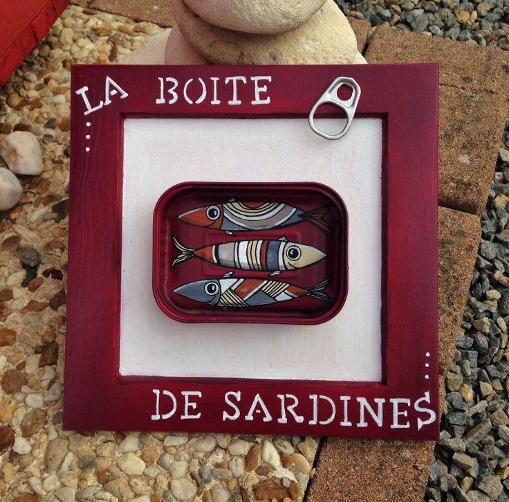 """Tableau """" La boite de Sardines """" à l'acrylique : Décorations murales par les-toiles-de-mer-de-syl"""