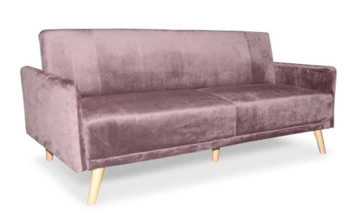 Canape Lit 3 Places Velours Rose Poudre Mobi In 2020 Love Seat