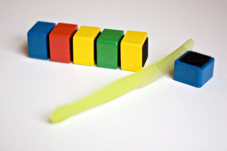"""Could totally DIY Velcroed blocks to """"cut"""" apart with plastic knife or pull apart = fine motor and strength"""