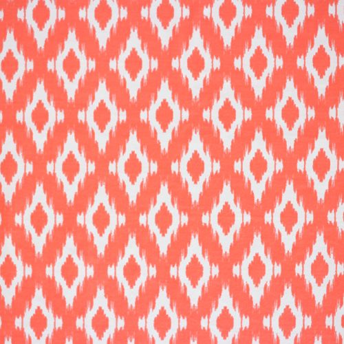 """White Ikat on Neon Coral Brushed Jersey Spandex Blend Knit Fabric - Bright neon coral pink with white smaller scale repeating Ikat design brushed texture spun poly spandex blend knit.  Fabric is light to medium weight, with a soft hand, nice drape, and a 4 way stretch. Ikat measures 1 1/2"""" (see image for scale).  Color is actual bright color and not as pictured.  This is brushed poly spandex fabric that is very popular for perfect fit and comfort leggings and more!  ::  $6.50"""