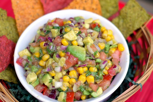 avocado, corn and tomato salsa. One of my favorite dips!!