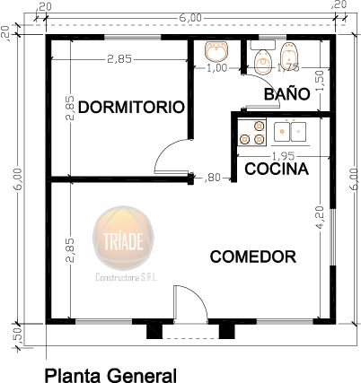 Planos y foto cabaña para el campo 1 dormitorio - Viviendas Tríade