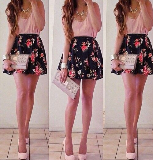 Pink blouse floral skirt cute outfit | Glam Goddess | Pinterest | Floral Pink and Skirts