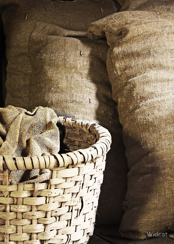 country primitive natural baskets and grain sacks