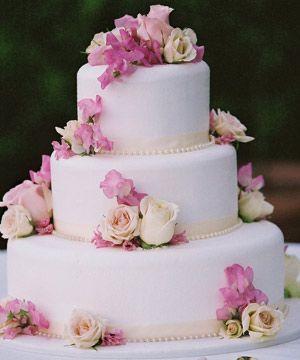 Torta nuziale a piani, torta nuziale bianca e rosa, wedding cake ...