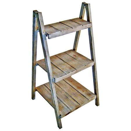 Display a bouquet of fresh blooms or your favorite travel treasures with this rustic folding etagere, featuring 3 tiers and slatted wood shelving.  ...