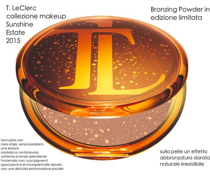 T. LE CLERC - Collezione makeup SUNSHINE Estate 2015 Edizione LimitataIl sole splende sul viso anche quando non c'è con questa luminosa polvere abbronzante di T.LeClerc per l'estate 2015. Una linea di prodotti per il makeup estremamente curata disponibile in farmacia e parafarmacia.
