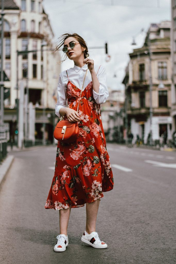 Spring style with a Mango midi red dress worn on top of a classy white blouse.