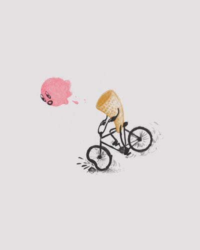 I Scream Art Print - Brock DavisFood Funny, Cream Bikes, Brock Davis, Head Prints, Art Prints, Scream Ic, Ice Cream, Scream Art, Funny Bicycle