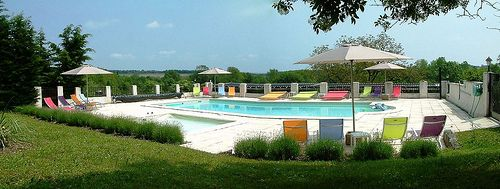 Solar heated pool and toddler friendly paddling pool @ Chateau de Gurat, Charente, France