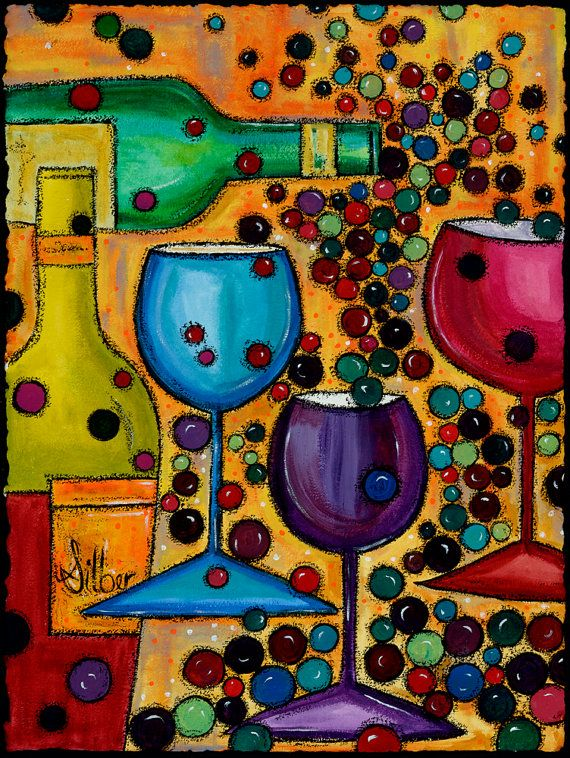 Modern Original painting Meritage wine themed art by OriginalArtbyCassie  - Fresh Sip and Paint Locations Photo