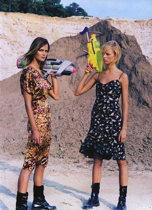 """""""Weekend Warriors"""": Karolina Kurkova and Carmen Kass photographed by Steven Klein for Vogue, October 2001"""